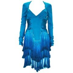 New Tom Ford for Gucci F/W 2004 Runway Caribbean Blue Fringe Dress Italian 38