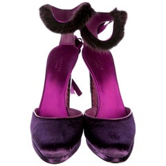 New Tom Ford For Gucci Farewell Collection Mink Python Velvet Heels Sz 7.5