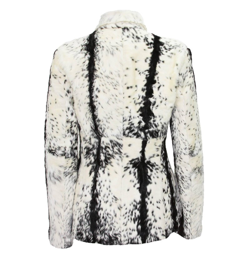 Gray New Tom Ford for Gucci F/W 1999 Fur Cream Black Jacket Blazer Italian size 40 For Sale
