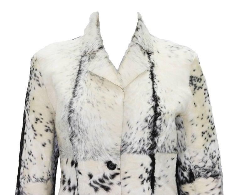Women's New Tom Ford for Gucci F/W 1999 Fur Cream Black Jacket Blazer Italian size 40 For Sale