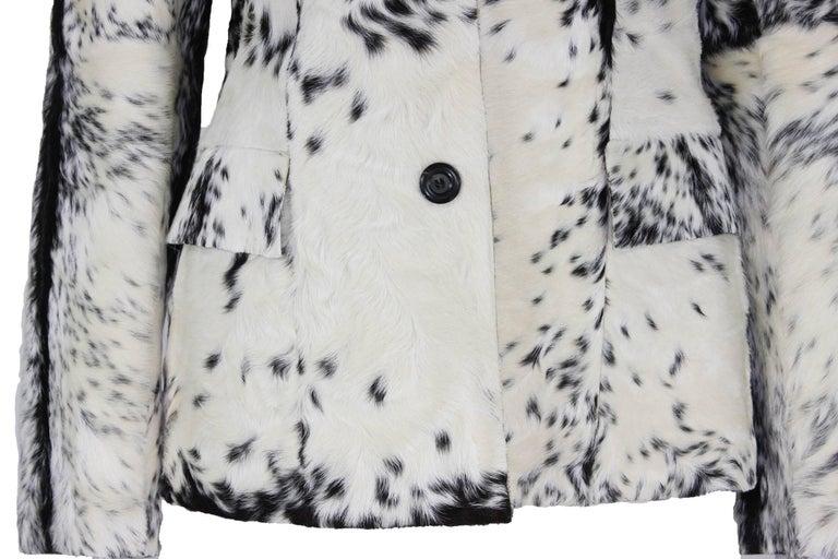 New Tom Ford for Gucci F/W 1999 Fur Cream Black Jacket Blazer Italian size 40 For Sale 1