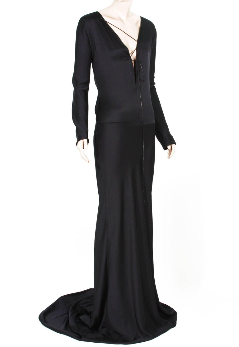 New Tom Ford for Gucci F/W 2002 Black Silk Gown with Leather Tie It ...