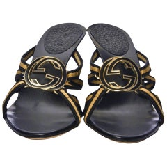 New Tom Ford for Gucci GG Logo Canvas Mules Heels Sz 7.5