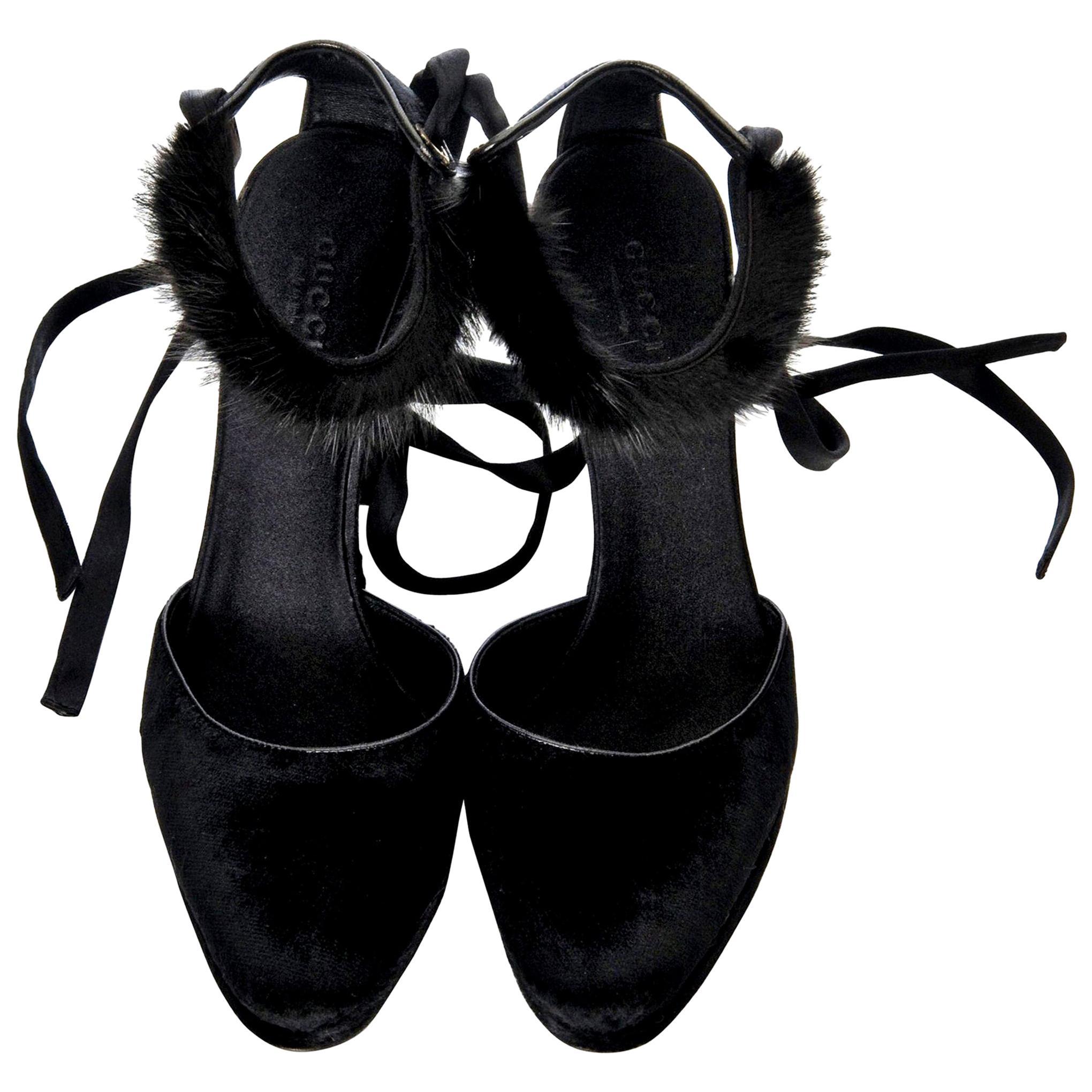 New Tom Ford For Gucci Mink Python Velvet 2004 Final Collection Heels Sz 8.5