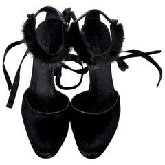 New Tom Ford For Gucci Mink Python Velvet 2004 Final Collection Heels Sz 9