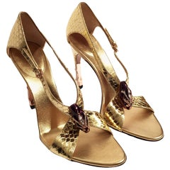 New Tom Ford for Gucci Python Snake Head Ad Runway Heels Sz 7