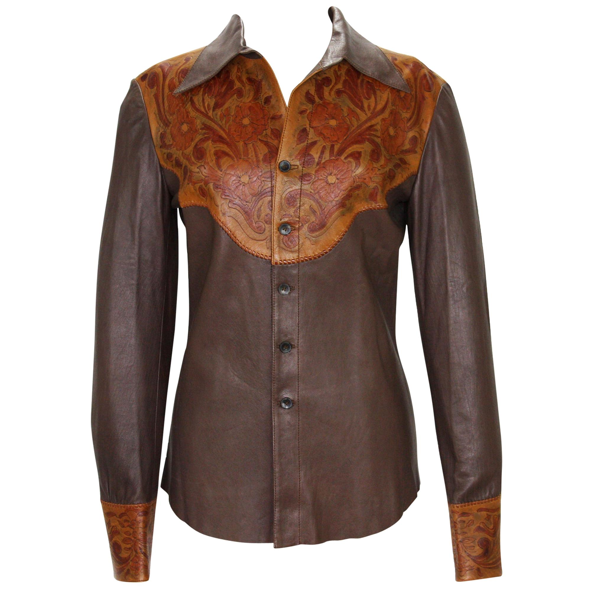 New Tom Ford for Gucci Runway S/S 2004 Collection Western Leather Men's Shirt 48
