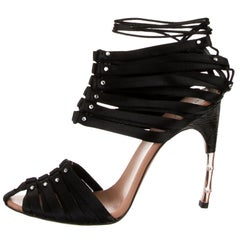 New TOM FORD for GUCCI S/S 2004 Black Satin Crocodile Crystal Corset Shoes 6 B