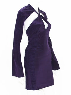 New Tom Ford for Gucci S/S 2004 Deep Purple Silk Plunging Backless Mini Dress 38