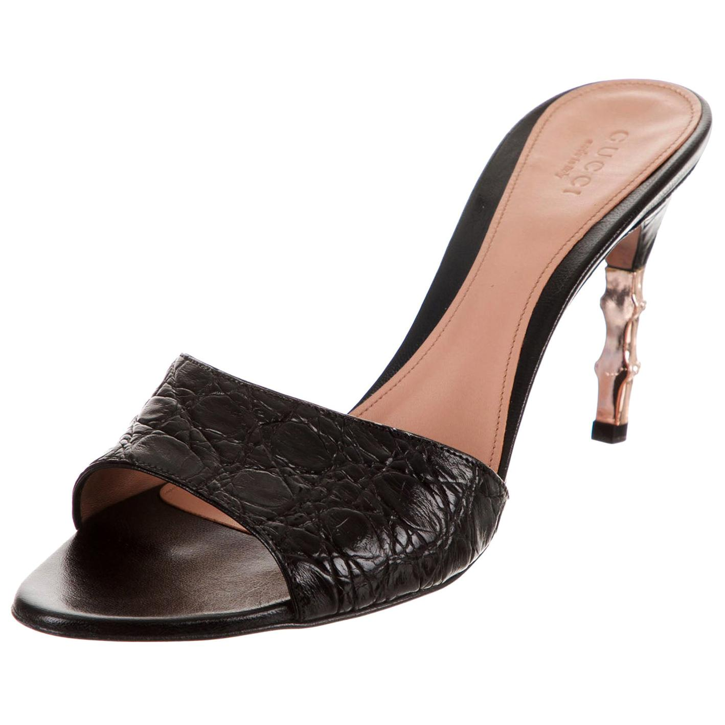 New Tom Ford for Gucci S/S 2004 Genuine Crocodile Black Bamboo Heeled Shoes 8 B