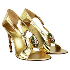New Tom Ford for Gucci S/S 2004 Gold Python Jeweled Bamboo Heel Shoes 8.5 - 38.5
