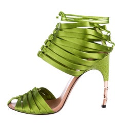New TOM FORD for GUCCI S/S 2004 Green Satin Crocodile Corset Shoes Sandals 9 B