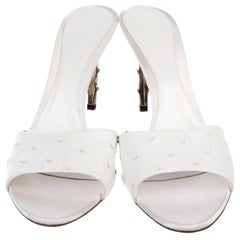 New Tom Ford for Gucci S/S 2004 White Ostrich Bamboo Shoes Sandals 10 B