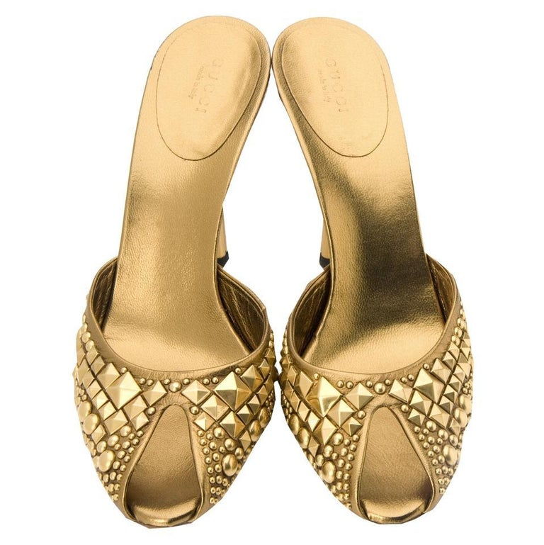 New Tom Ford for Gucci Studded Gold Bronze Runway Heels Shoes Mules 9 B For Sale 1