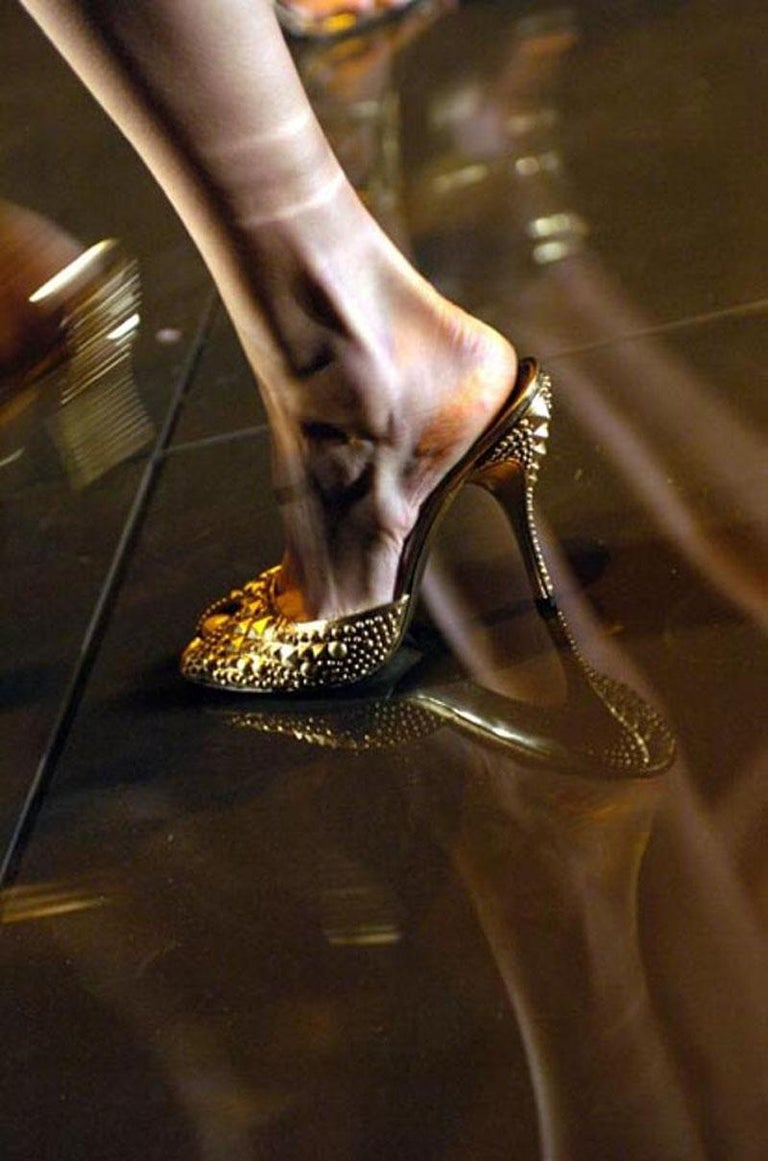 New Tom Ford for Gucci Studded Gold Bronze Runway Heels Shoes Mules 9 B For Sale 2