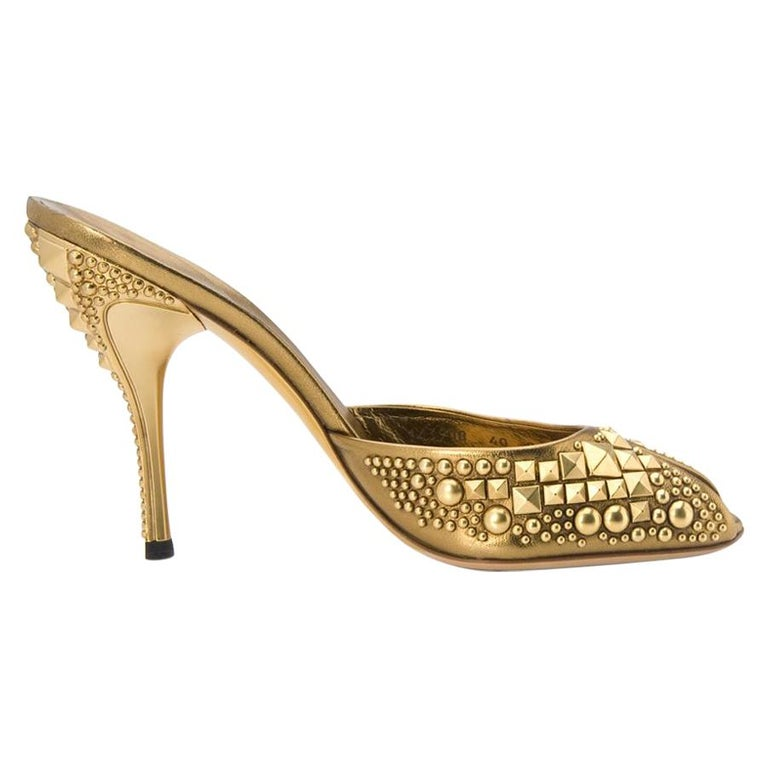 New Tom Ford for Gucci Studded Gold Bronze Runway Heels Shoes Mules 9 B For Sale