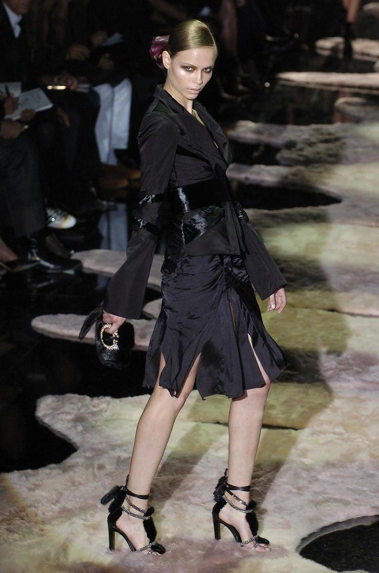 New Tom Ford for Gucci Swarovski Crystals Snakeskin Mink Fur Sandals Gold 7.5  For Sale 2