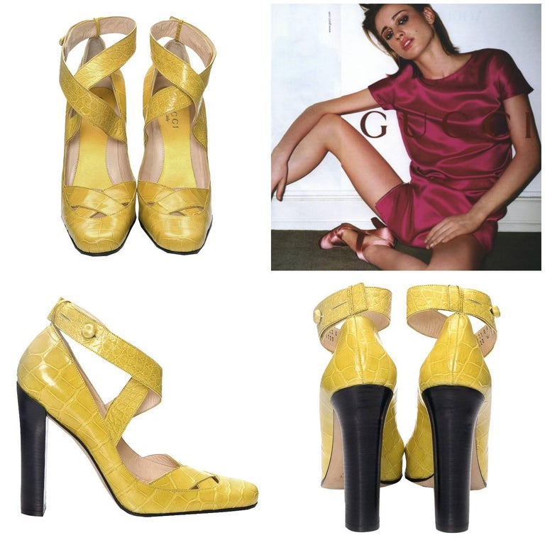 Tom Ford For Gucci Heels Own a Piece of Fashion History Brand New, Rare Collectible Ad Runway Heels * Stunning in Yellow Genuine Crocodile  * Tom Ford's Iconic Runway Heels * Euro Size: 39  * Adjustable Crocodile Ankle Strap * Leather & Yellow Satin