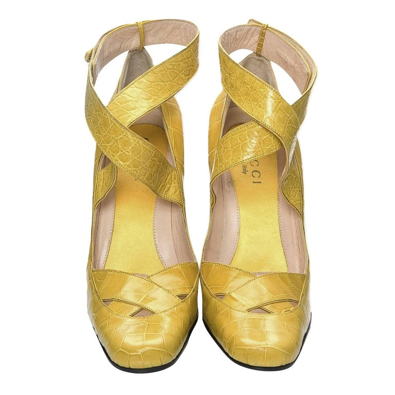Women's New Tom Ford for Gucci Yellow Crocodile Ballerina Heels Pumps Sz 39 For Sale