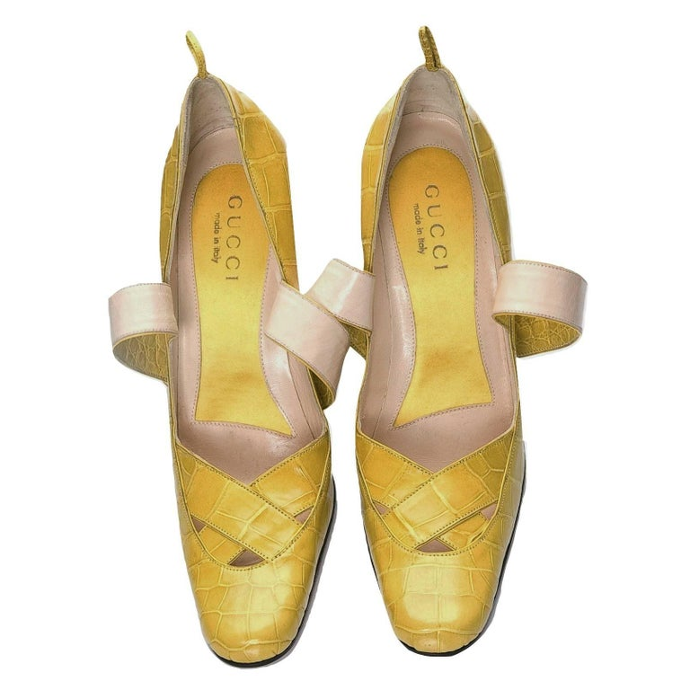 New Tom Ford for Gucci Yellow Crocodile Ballerina Heels Pumps Sz 39 For Sale 4