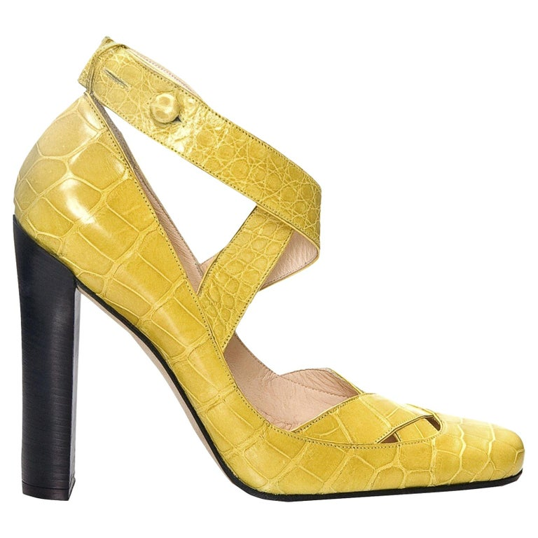 New Tom Ford for Gucci Yellow Crocodile Ballerina Heels Pumps Sz 39 For Sale