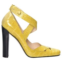 New Tom Ford for Gucci Yellow Crocodile Ballerina Heels Pumps Sz 39