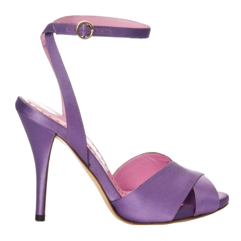New Tom Ford for YSL Yves Saint Laurent Final Collection Satin Heels Sz 38 In New Condition For Sale In Leesburg, VA