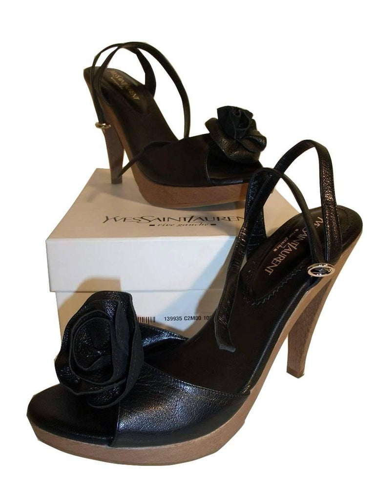 New Tom Ford for YSL Yves Saint Laurent Nadja Rosette Black Heels Pumps Sz 40 For Sale 6