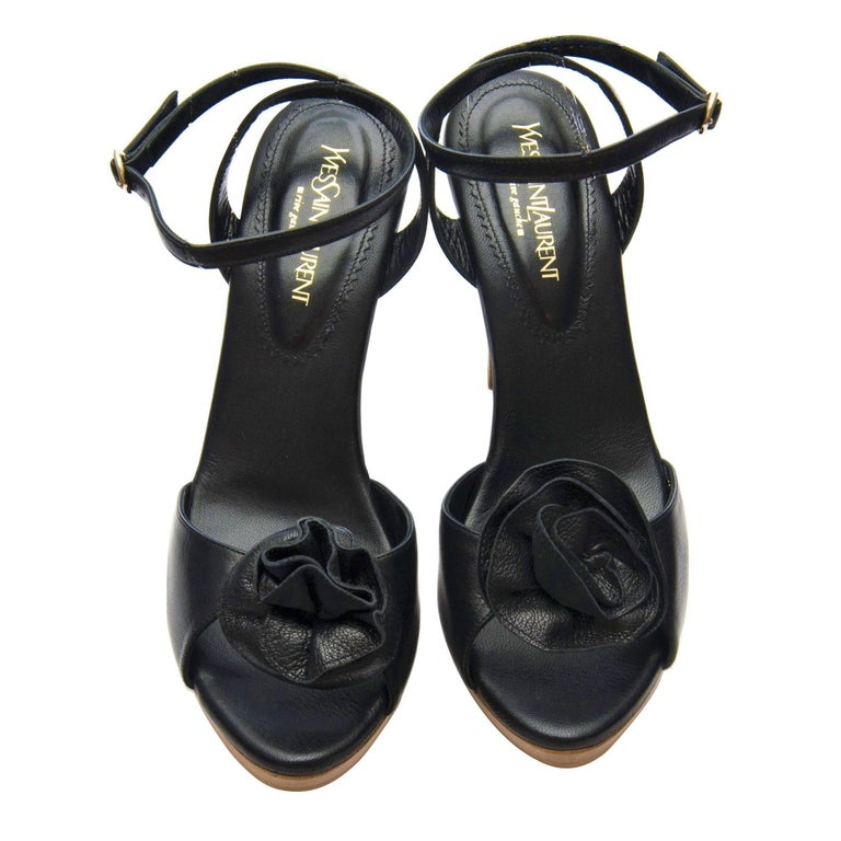 New Tom Ford for YSL Yves Saint Laurent Nadja Rosette Black Heels Pumps Sz 40 For Sale 1