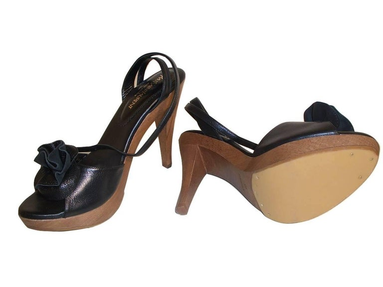 New Tom Ford for YSL Yves Saint Laurent Nadja Rosette Black Heels Pumps Sz 40 For Sale 5
