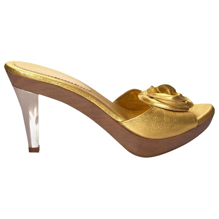 New Tom Ford for YSL Yves Saint Laurent Nadja Rosette Gold Heels Sz 40 For Sale