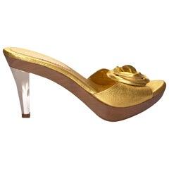 New Tom Ford for YSL Yves Saint Laurent Nadja Rosette Gold Heels Sz 40