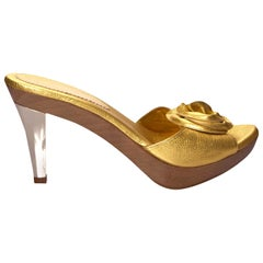 New Tom Ford for YSL Yves Saint Laurent Nadja Rosette Gold Heels Sz 40