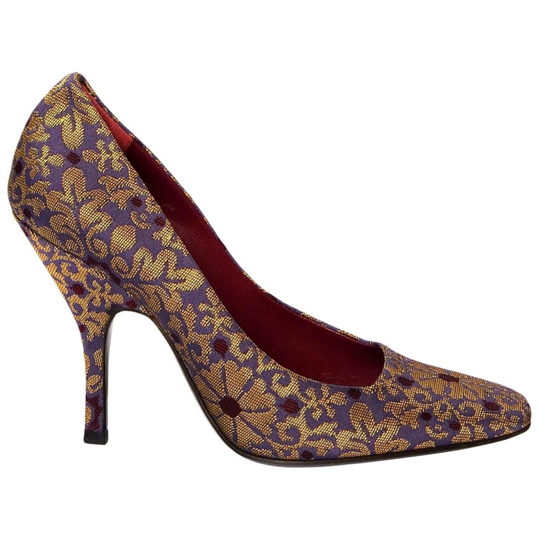 New Tom Ford for Yves Saint Laurent YSL Brocade Heels Pumps Sz 37 For Sale