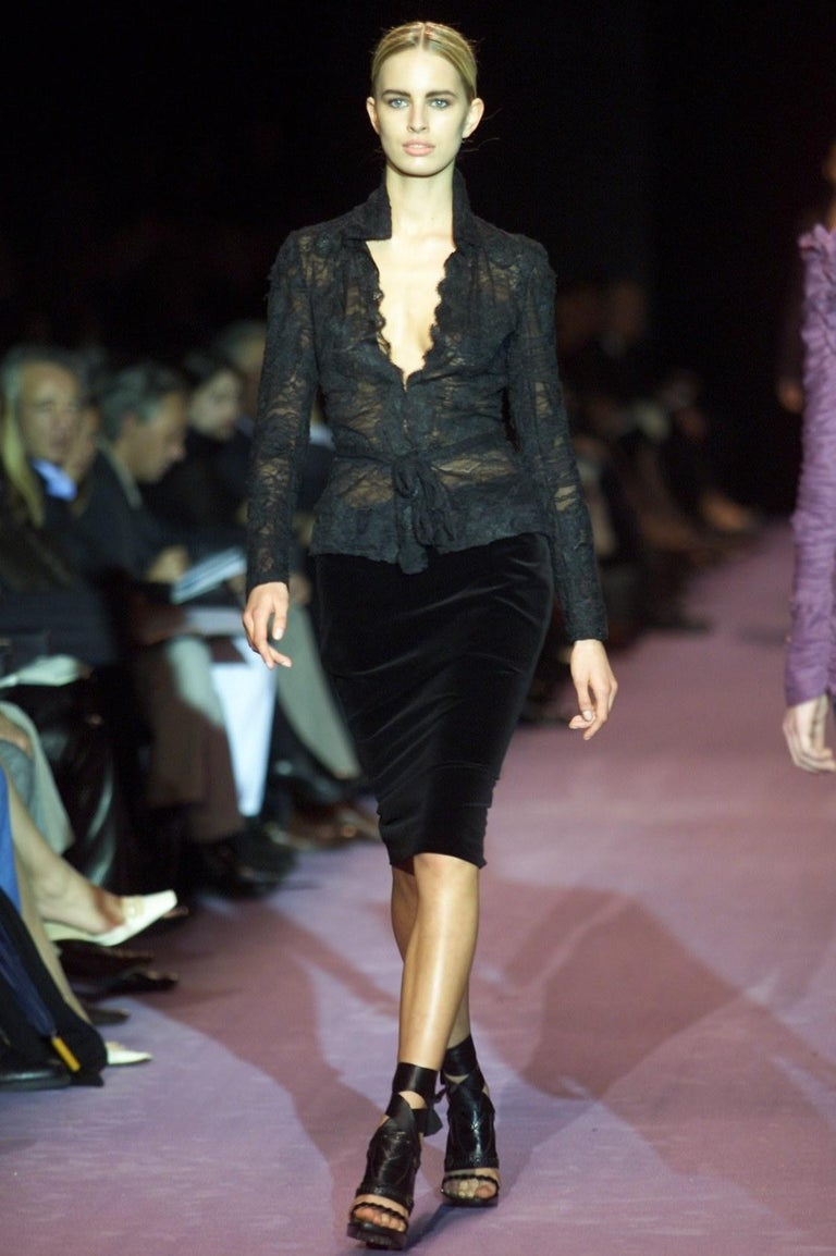 Tom Ford For Yves Saint Laurent Size: S  US 2, FR36  Tom Ford's Coveted 2001 Winter Collection Runway Skirt Many models wore this velvet skirt for the show Impossible to Find New! Brand New Without Tags Black Velvet Zipper and Hook & Eye closure at