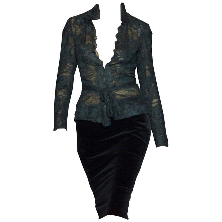 Women's New Tom Ford For Yves Saint Laurent YSL F/W 2001 Velvet Runway Ad Skirt Sz Fr36 For Sale