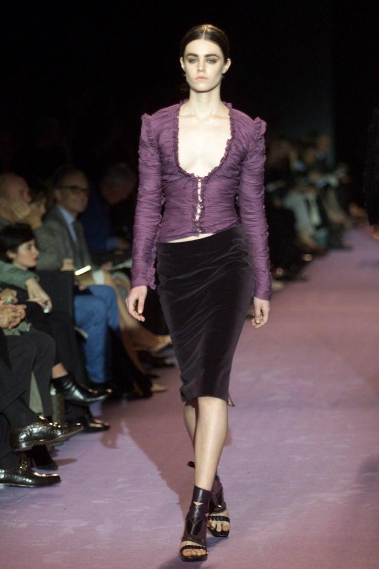 New Tom Ford For Yves Saint Laurent YSL F/W 2001 Velvet Runway Ad Skirt Sz Fr36 For Sale 2