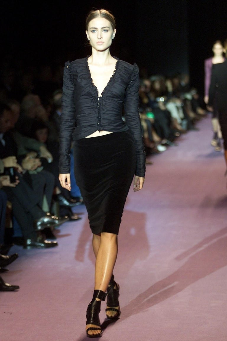 Tom Ford For Yves Saint Laurent Size: M/L  US8/10, FR44  Tom Ford's Coveted 2001 Winter Collection Runway Skirt Many models wore this velvet skirt for the show Impossible to Find New! Brand New Without Tags Black Velvet Zipper and Hook & Eye closure