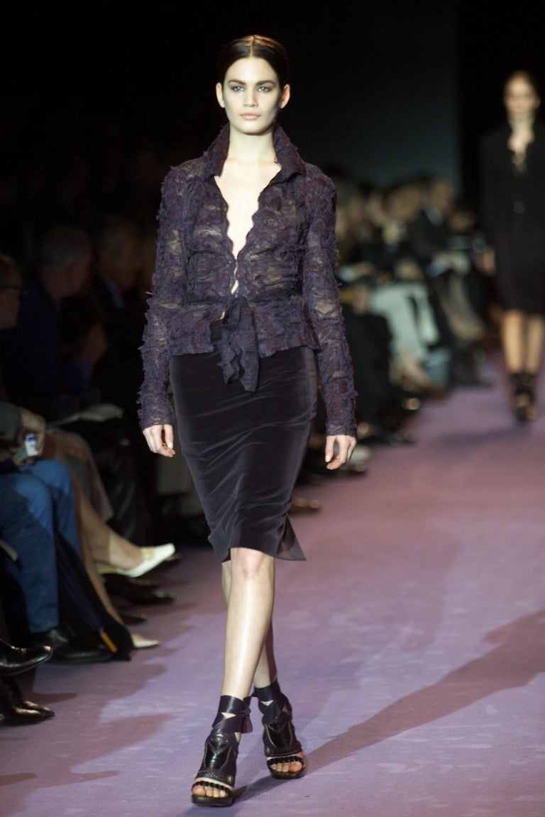 New Tom Ford For Yves Saint Laurent YSL F/W 2001 Velvet Runway Ad Skirt Sz Fr44 For Sale 1