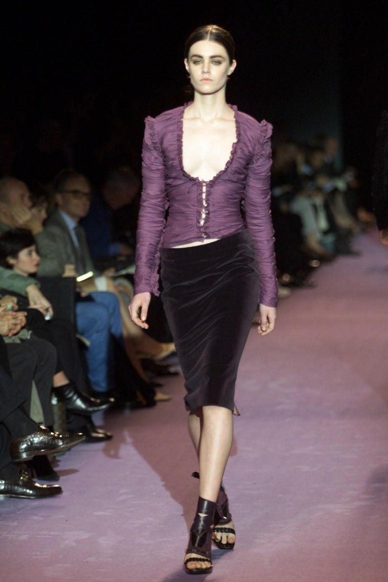 New Tom Ford For Yves Saint Laurent YSL F/W 2001 Velvet Runway Ad Skirt Sz Fr44 For Sale 2