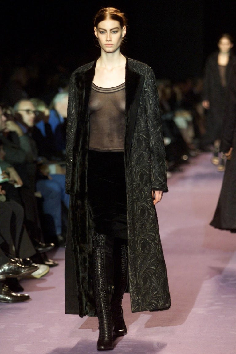 New Tom Ford For Yves Saint Laurent YSL F/W 2001 Velvet Runway Ad Skirt Sz Fr44 For Sale 3