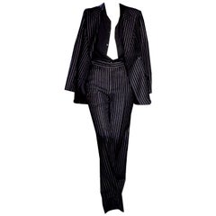 New Tom Ford For Yves Saint Laurent YSL Pinstripe Pantsuit Suit FR40 6/8