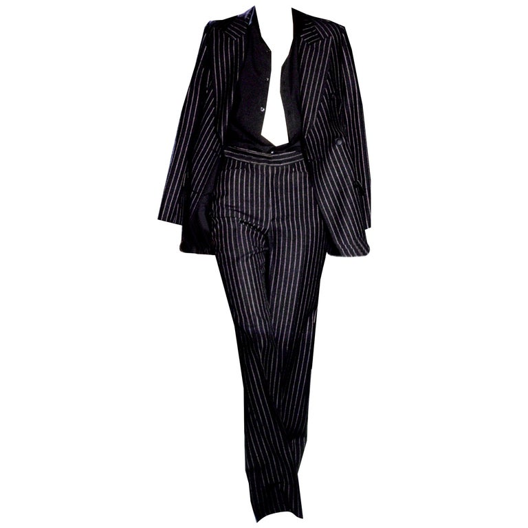 New Tom Ford For Yves Saint Laurent YSL Pinstripe Pantsuit Suit FR40 6/8 For Sale