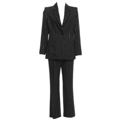 New Tom Ford For Yves Saint Laurent YSL Pinstripe Pantsuit Suit FR40 6/8