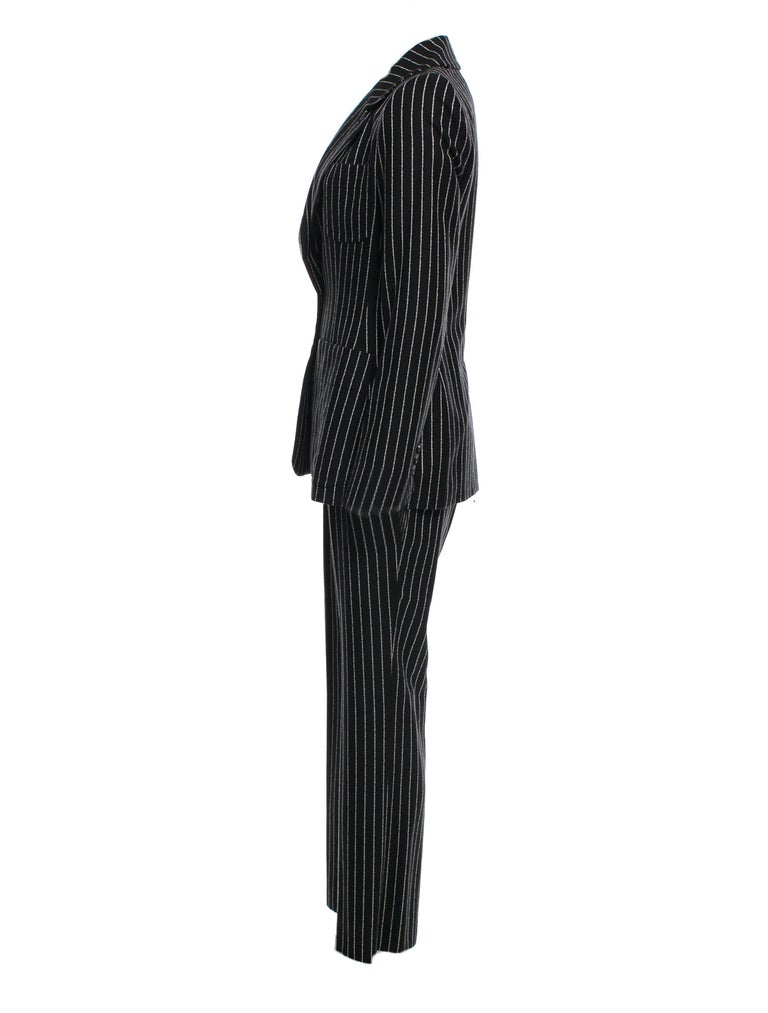New Tom Ford For Yves Saint Laurent YSL Pinstripe Pantsuit Suit FR40 6/8 For Sale 1
