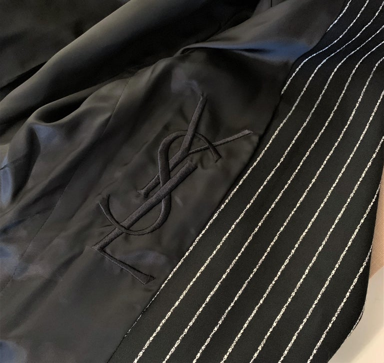 New Tom Ford For Yves Saint Laurent YSL Pinstripe Pantsuit Suit FR40 6/8 For Sale 4