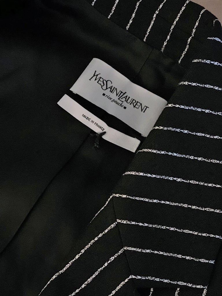 New Tom Ford For Yves Saint Laurent YSL Pinstripe Pantsuit Suit FR40 6/8 For Sale 5