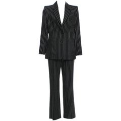 New Tom Ford For Yves Saint Laurent YSL Pinstripe Pantsuit Suit S / S 2003