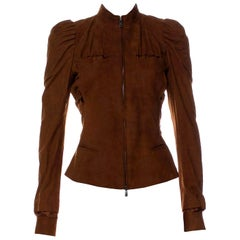 New Tom Ford For Yves Saint Laurent YSL S/S 2003 Suede Jacket Coat Sz 38