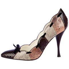 New Tom Ford for Yves Saint Laurent YSL Snakeskin Heels Pumps Sz 38